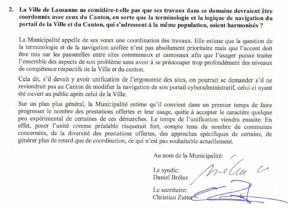 [extrait d'une réponse de la Municipalité de Lausanne à une question fustigeant l'anglicisme mylausanne. La signature de Brélaz est authentique.]