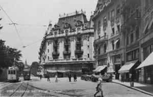La place Bel-Air et l'entrée d'origine du Kursaal.