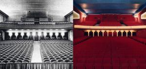 La salle en 1928 et aujourd'hui.