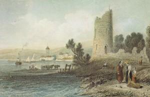 La tour Haldimand en 1834, gravure en creux par William-Henri Bartlett. – © Musée historique de Lausanne