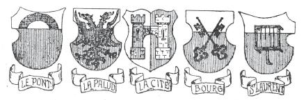 Bannières des «cinq quartiers » de Lausanne.