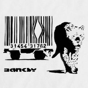 Œuvre du célèbre street artist Banksy – De manière très explicite, l'artiste dénonce comme l'argent (code barre) est mis en priorité par rapport au bien-être d'un animal. Pour tout fan de Banksy une autre de ses œuvres mérite d'être citée, dans laquelle il joue plus encore avec la provocation : les Sirènes des Agneaux. Dans un autre registre que ses pochoirs, il s'agit là d'un camion remplit de peluches animales qui a circulé dans les rues de New York en reproduisant des cris lancinants d'animaux en souffrance.