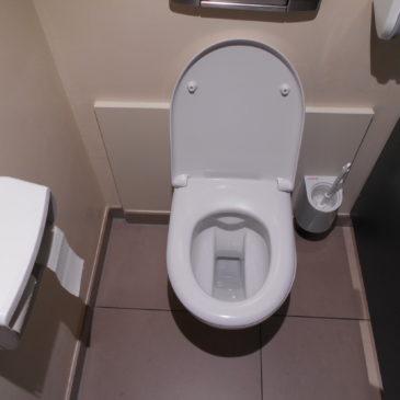 C'est un peu exigu et ça ne sent pas toujours bon, mais les toilettes de Manor me semblaient faire l'affaire pour me changer.