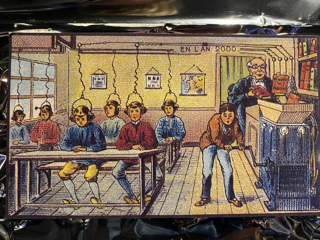 L'an 2000, imaginé par les artistes Robida, Villemard et Côté dans les années 1900.